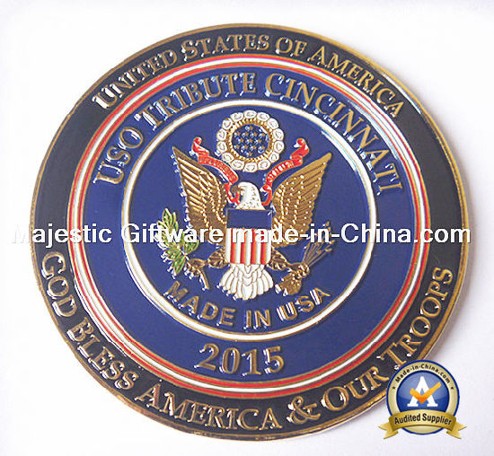 Zinc Die Cast Plating Gold Soft Enamel Challenge Coin pictures & photos