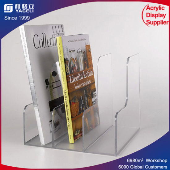 Customized Clear Bookshelf Holder Acrylic Menu Stands