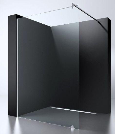 Cheap 8mm 10mm Glass Bathroom Walk in Shower Screen Black Sale