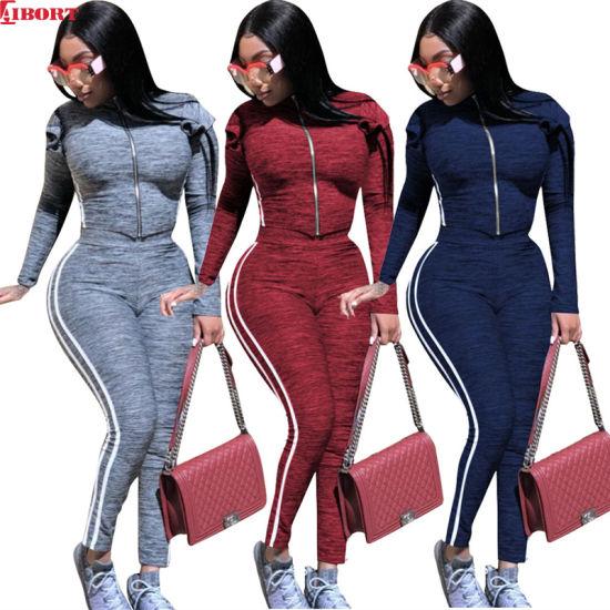 Aibort Wholesale Tracksuits Customized Zip Women Jogger Sets Jogging Suit