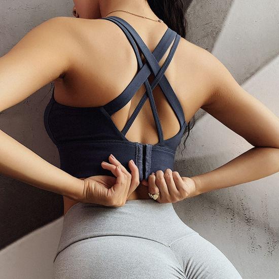 Women's Cross-Shaker Sports Bra with High-Strength Gym Vest Type Yoga Bra Strap Sport Bra