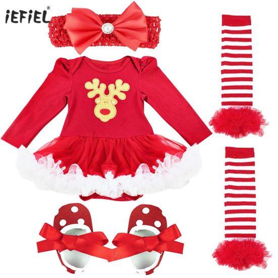 Baby Girls Christmas Tutu Romper Headband Leg Warmer Shoes Costume