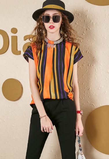 Latest Fashion Shirt Blue Stretch Denim Ripped for Women