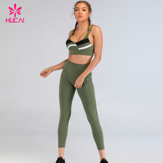 Custom Youth Patchwork Workout Fitness Bra and Leggings Wear