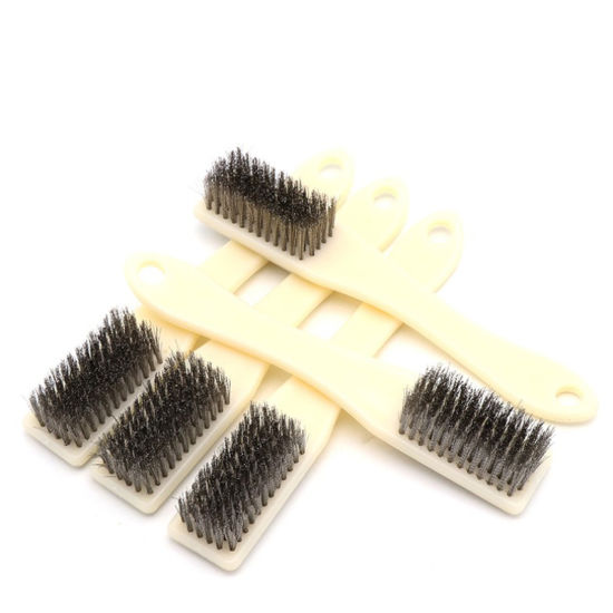 3 Shoe Handle Wire Scratch Brushes Heavy Duty Carbon Steel for Cleaning Rust with Long Curved Beechwood Handle Welding Brush