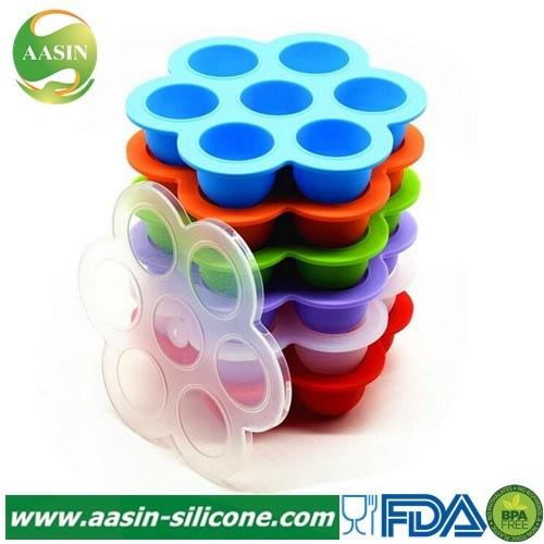 Foldable Silicone Baby Food Storage Container With Lid Freezer Ice Cube Tray HS