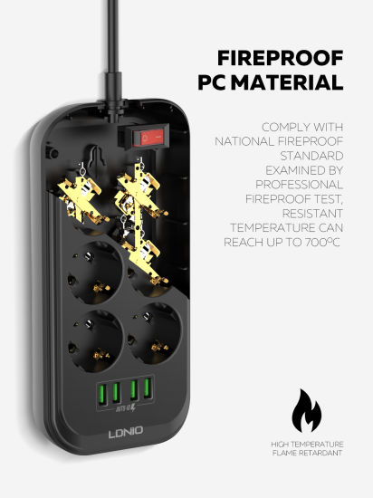 Amazon Hot Selling Ldnio EU Extension Socket 4 USB Electrical Socket 6 Outlets: Se6403