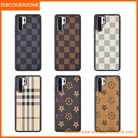 Luxury Fashion Accessories Leather Mobile Phone Case Brand Logo Huawei P30PRO Cellphone Cover
