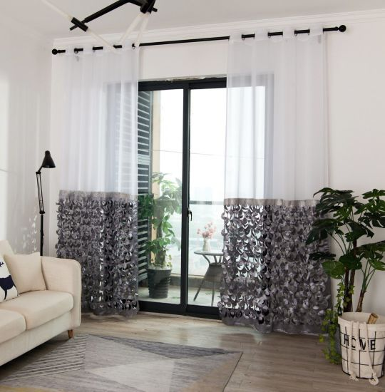 Half Shading Living Room/Room Polyester Window Curtain with Diamond-Studded