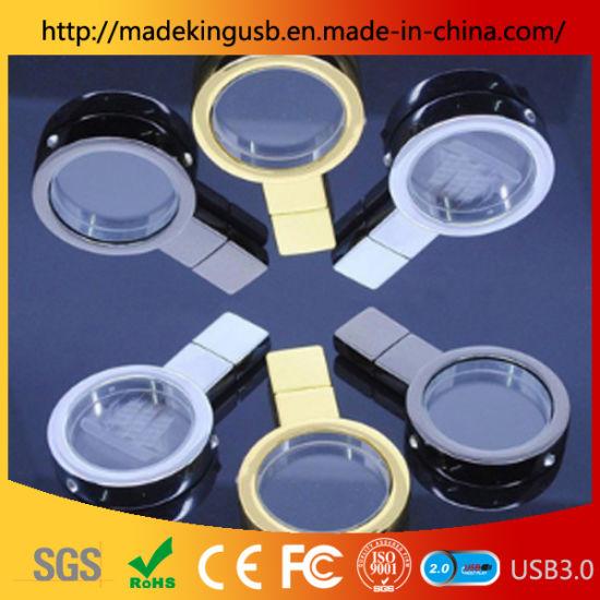 Magnifying Glass Shape Crystal U Disk/USB Flash Drive 3D Logo Can Be Carved Inside