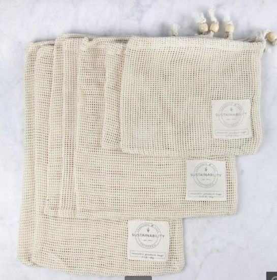 Washable Reusable Cotton Mesh Produce Shopping Bag Drawstring Fruit Bag