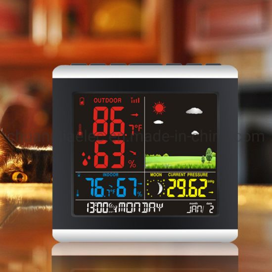 China Silent Wall Clock With Indoor And, Atomic Wall Clock With Indoor Outdoor Temperature And Humidity