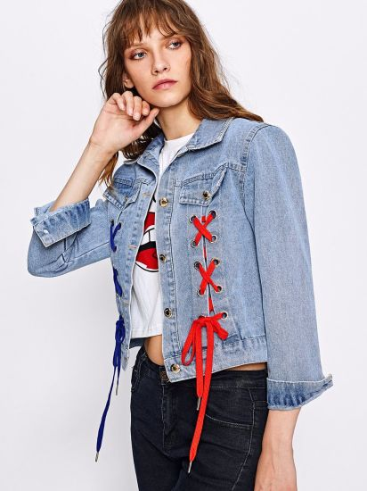 fa21c95078f5 China New Designs Embroidered Patch Back Grommet Lace up Denim ...