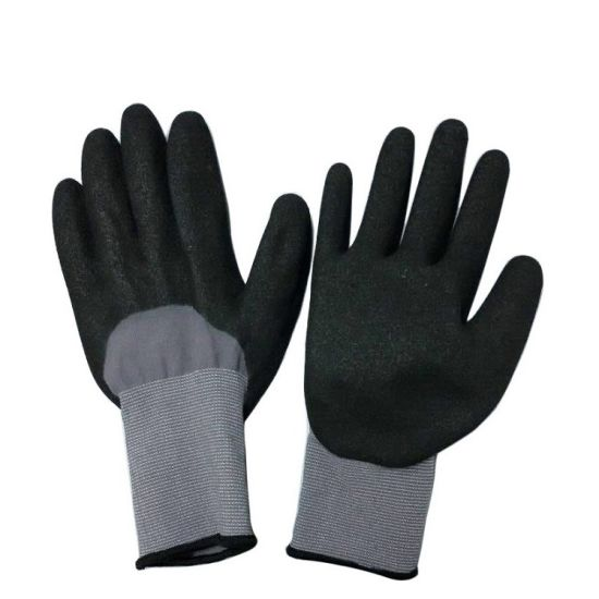Nitrile Dipped Soft Winter Work Glove with Acrylic Fleece Double Liner pictures & photos