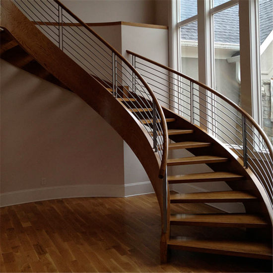 Popular Wood Stair Edging Indoor Double Beam Arc Curved Staircase