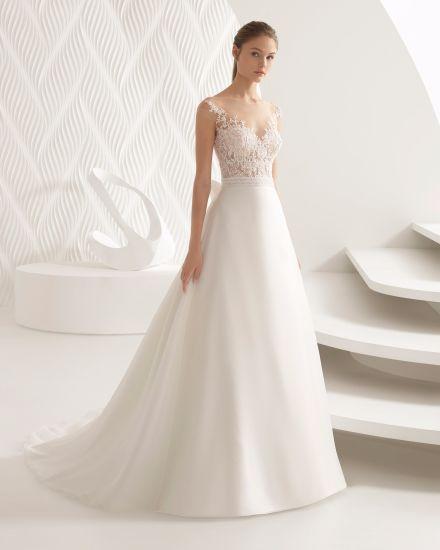 China Cap Sleeve Sheer Lace Top Organza Wedding Dress Bridal Gown ...