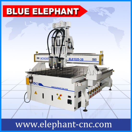 Ele 1325 3 Axis CNC Wood Carving Machine, Woodworking CNC Router with 3 Spindles pictures & photos