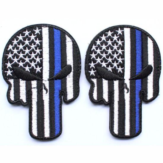 Punisher Skull American USA Thin Blue Line Law Enforcement Flag Devgru Seal  Team Si Vis Pacem PARA Bellum Embroidered Patch