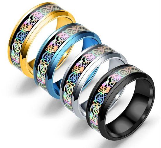 China Men Tungsten Carbide Ring Wedding Band 8mm Silver Black Blue