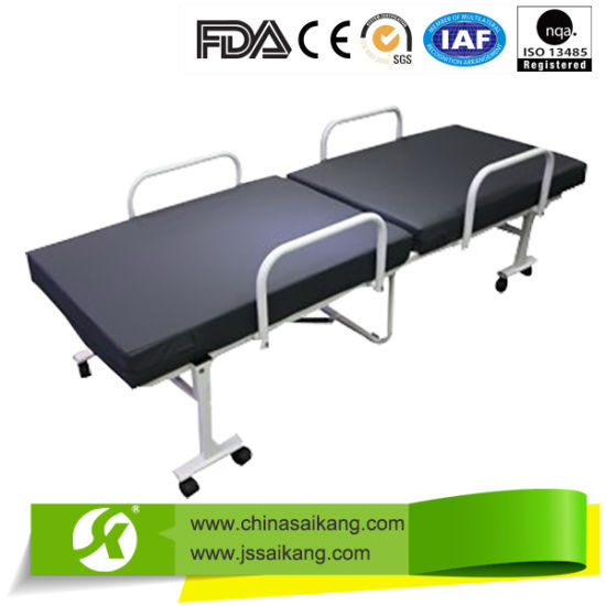 Sk062-2 Professional Team High Quality Foldable Hospital Bed with PU Mattress pictures & photos