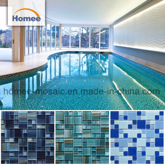 Cheap Ocean Blue Swimming Pool Tiles Iridescent Crackle Wave Glass Mosaic  Tile