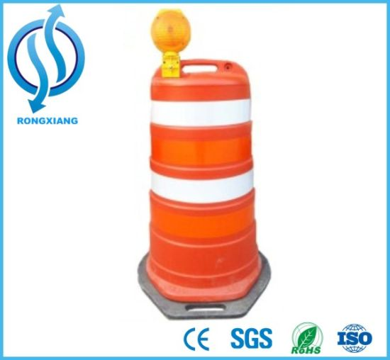 China Plastic Traffic Barrier Traffic Drum with Heavy Duty Base