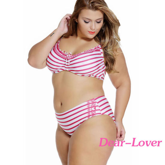 7e01e9b33983a China Fashion Plus Size Striped Curvy Underwire Swimsuit - China ...