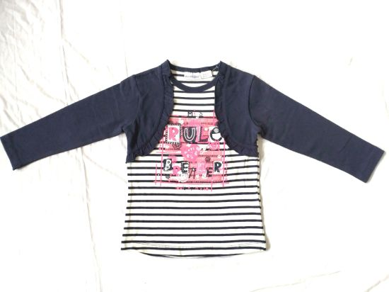 Faux 2 Pieces Girls T-Shirt Long Sleeves Children Clothes Baby Clothes