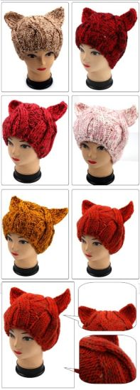 Hand Knit Evil Cat Ear Hat, Hand Knit Animal Hat pictures & photos