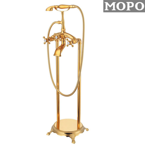 Bathroom Accessories Copper Brass Nobility Gold Color Floor Stand Shower Faucet Mixer Water Shower