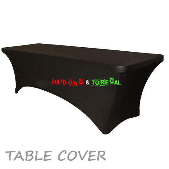 Black Color Wedding Elastic Banquet Folding Table Covers Sashes