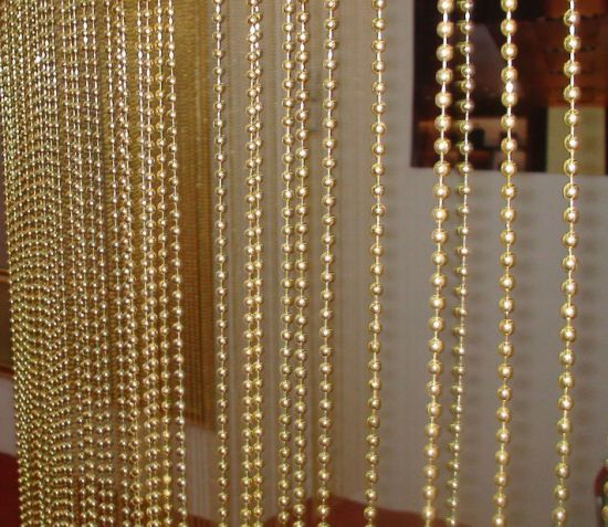 Gold Metal Ball Chain Curtain for Screen and Room Dividers