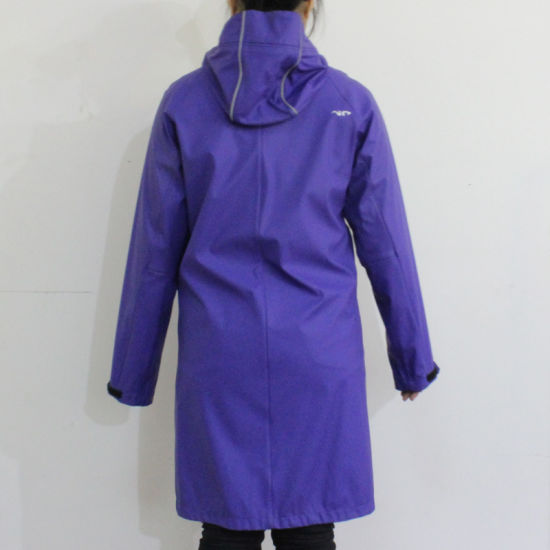 Royalblue Hooded Waterproof PU Raincoat pictures & photos