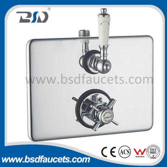 Factor Price Twin Concealed Thermostatic Shower Valve with Oval Brass Plate pictures & photos