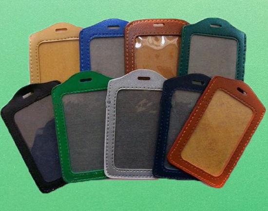 PU Leather ID Badge Card Pocket Holder