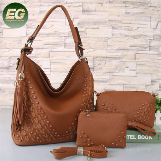 de343ea1042090 3PCS Latest Design Bags Ladies Tassel Handbag Set Sh619 pictures & photos