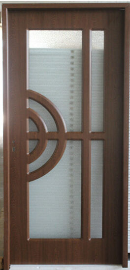 China Mdf Interior Door Design With Frosted Tempered Glass Inserted