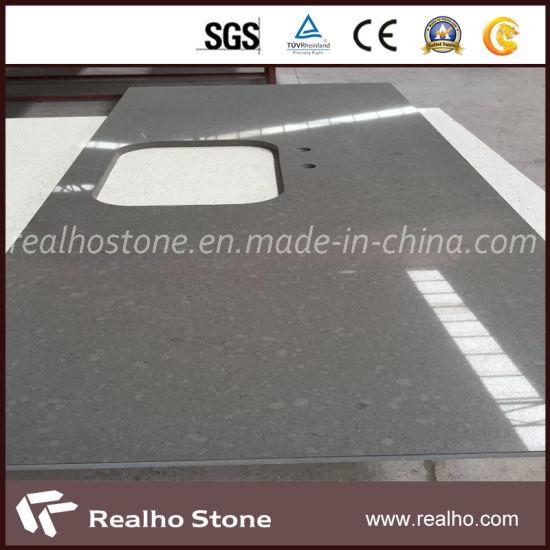 Polished Artificial Stone Customsized Grey Quartz Countertop for Sale