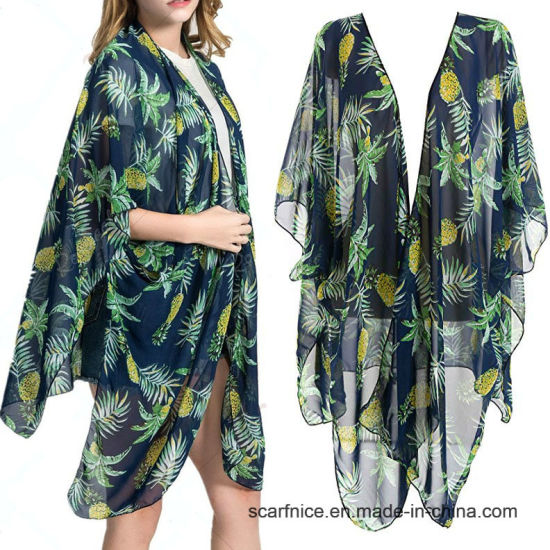 8e37f40291d1a Women Swimsuit Bathing Suit Beach Cover up Chiffon Floral Kimono Cardigan -  China Pineapple Tunic, Poncho | Made-in-China.com