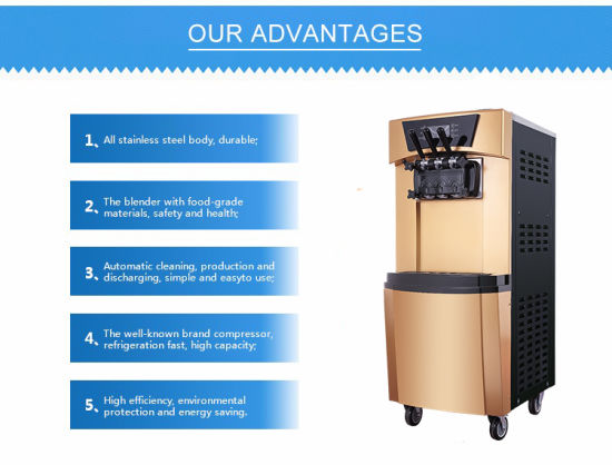 Wholesale Price 3 Flavors Floor Type Commercial Ice Cream Machine for Sale pictures & photos