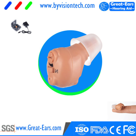 Mini Hearing Aid with Rechargeable Battery in Ear Canal Itc Earsmate Audio  Amplifier for Hearing Loss