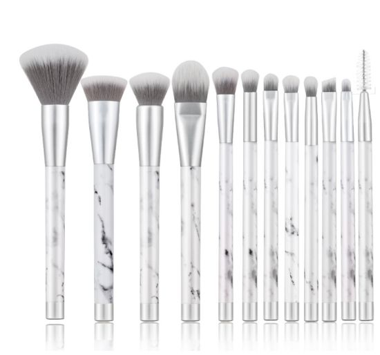 69af0f3f7d3 China Nylon Hair 10PCS Marble Handle Makeup Brush Cosmetic Brush Set ...