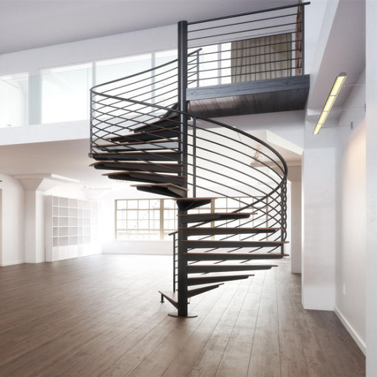 Factory Price Interior Wood Stairs Modern Spiral Staircase