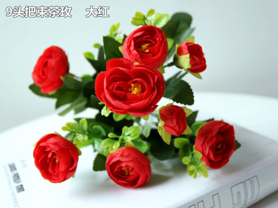9 Head 1 Bouquet Artificial Fake Rose Silk Flower for Wedding Party Decoration