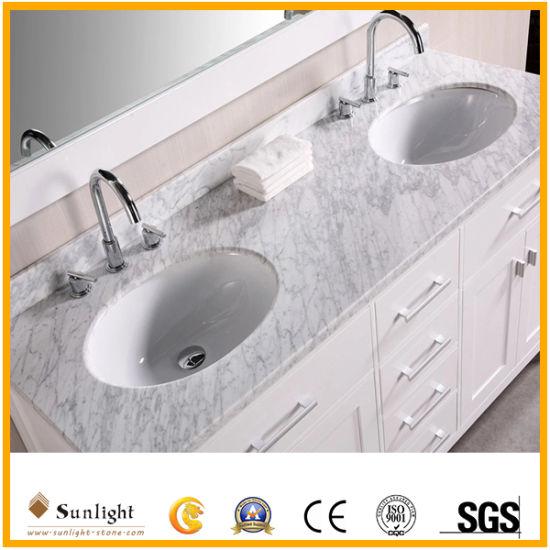 Custom Polished Carrara White Marble Lowes Vanity Tops Countertops for Bathroom
