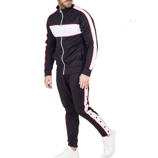 Custom Sport Bulk Wholesale Slim Fit Tracksuit Mens Zipper Suits