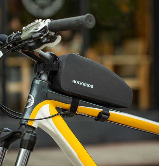 Bicycle Bag Waterproof Cycling Top Front Tube Frame Bag Large Capacity MTB Road Bicycle Pannier Black
