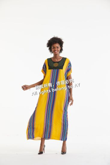 African Style Woman Clothing Summer Floral Cotton Print Dresses with Beading