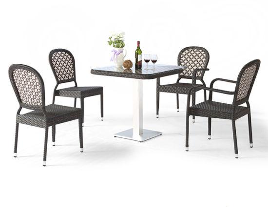 Outdoor Leisure Waterproof Table And Chair Armrest Black Rattan Set Garden Patio Wicker Furniture