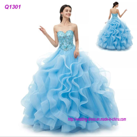 Sweetheart Ball Gown Blue Quinceanera Dresses 2019 Luxury Beaded